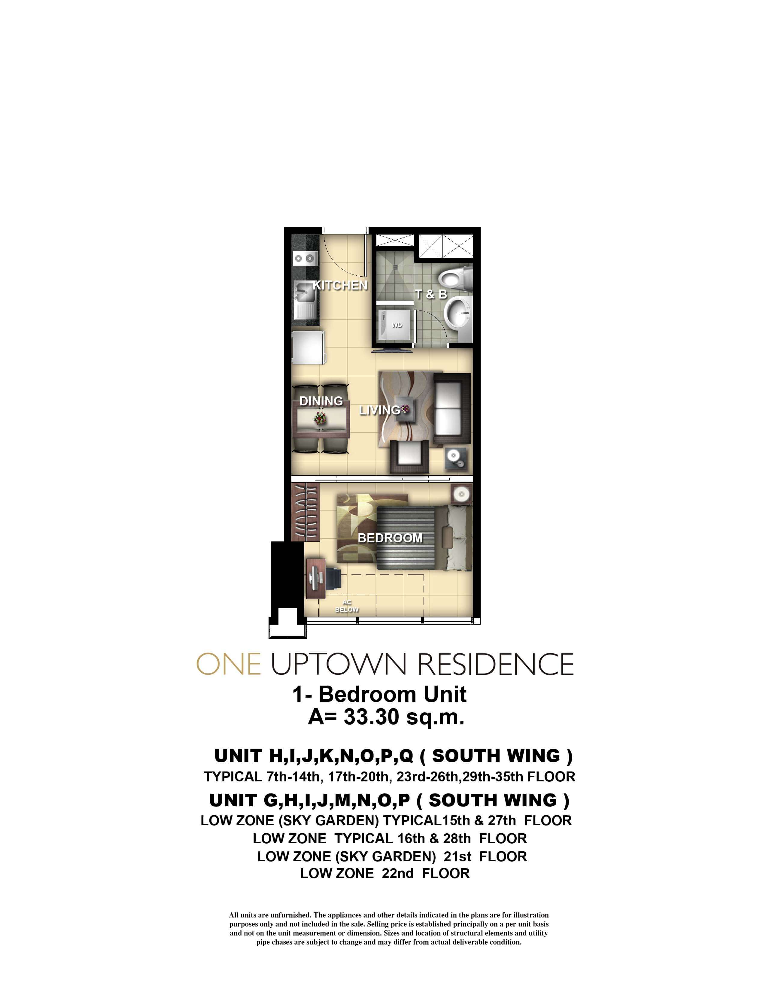One Uptown Residence Unit Layout 1BR (33.3sqm)