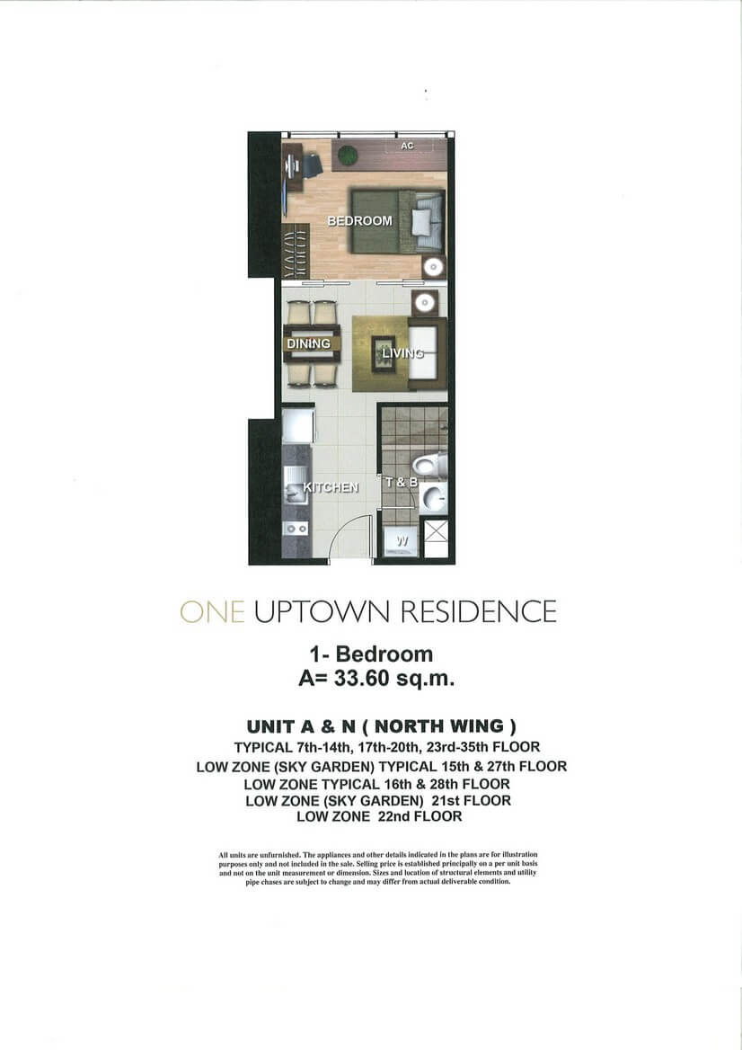 One Uptown Residence Unit Layout 1BR (33.6sqm)