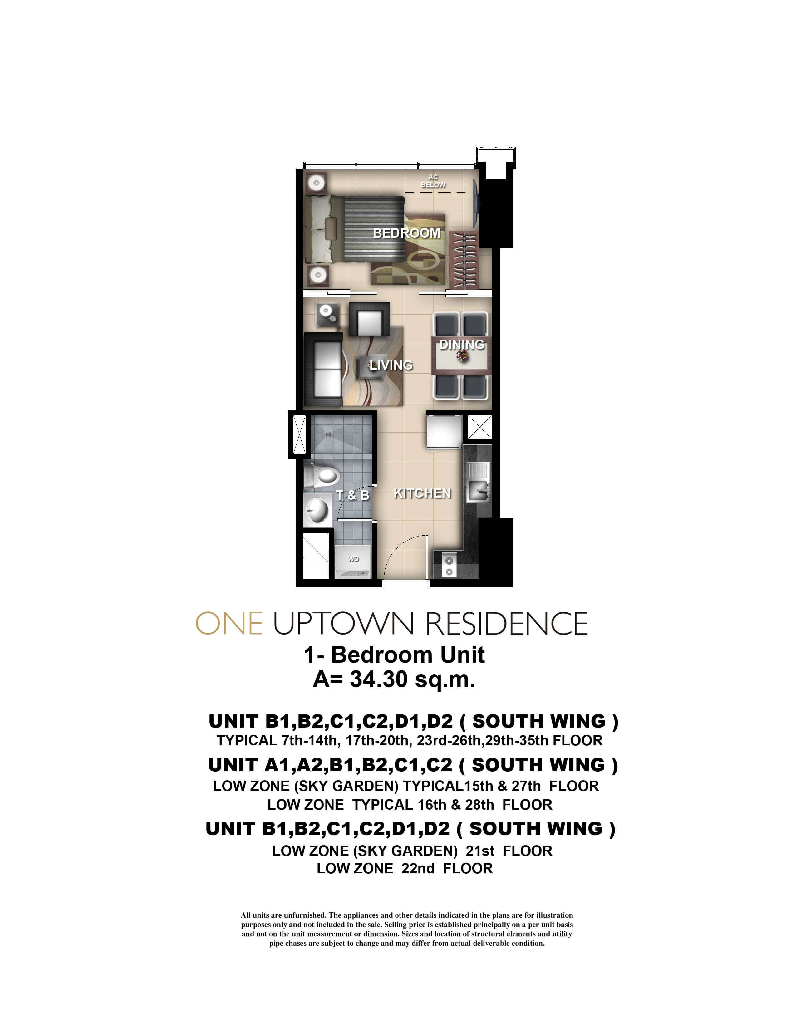 One Uptown Residence Unit Layout 1BR (34.4sqm)