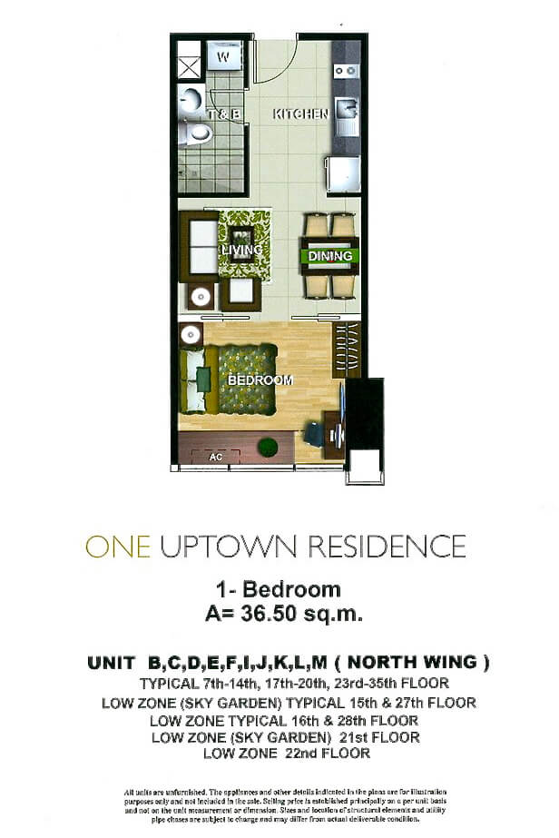 One Uptown Residence Unit Layout 1BR (36,5sqm) EDITED