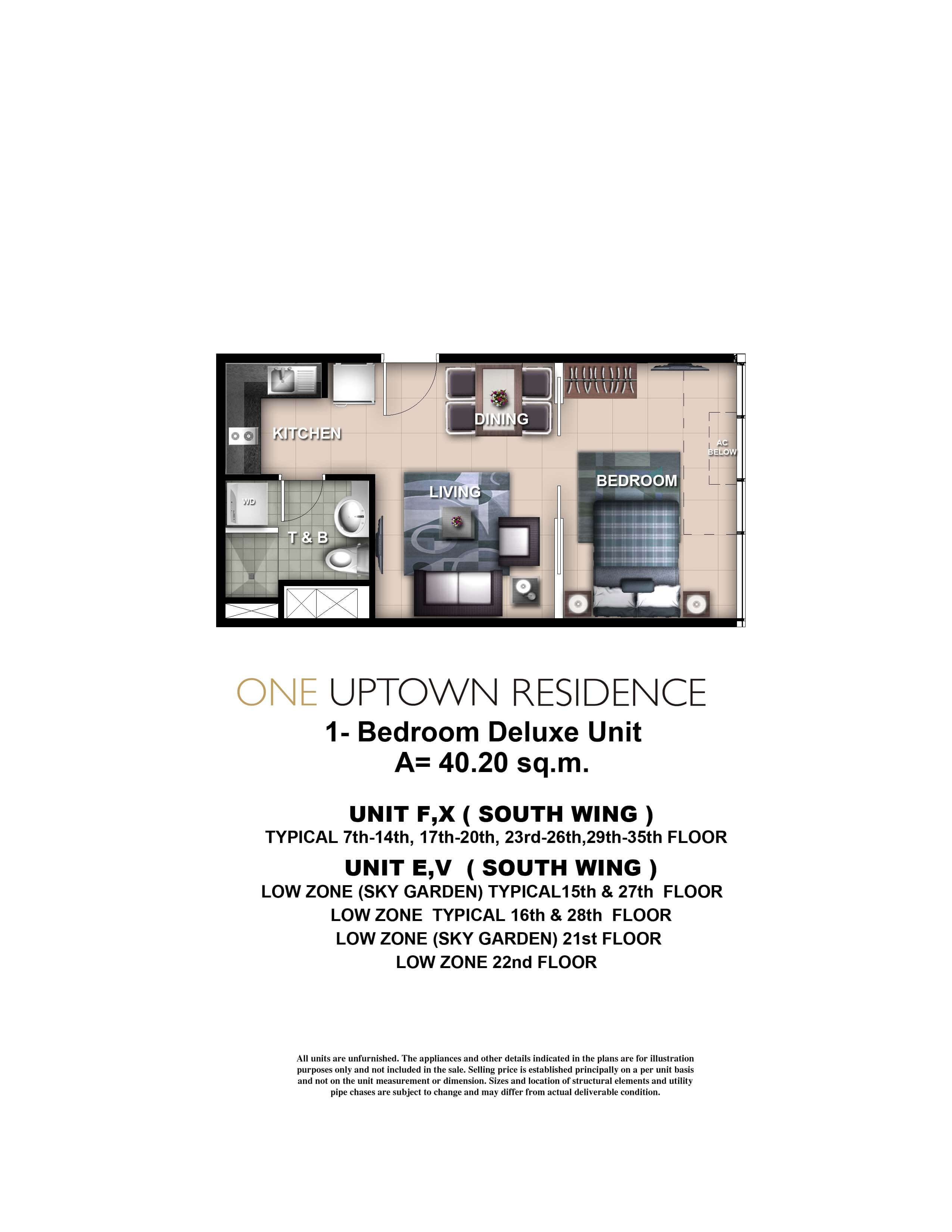 One Uptown Residence Unit Layout 1BR (40.2sqm)