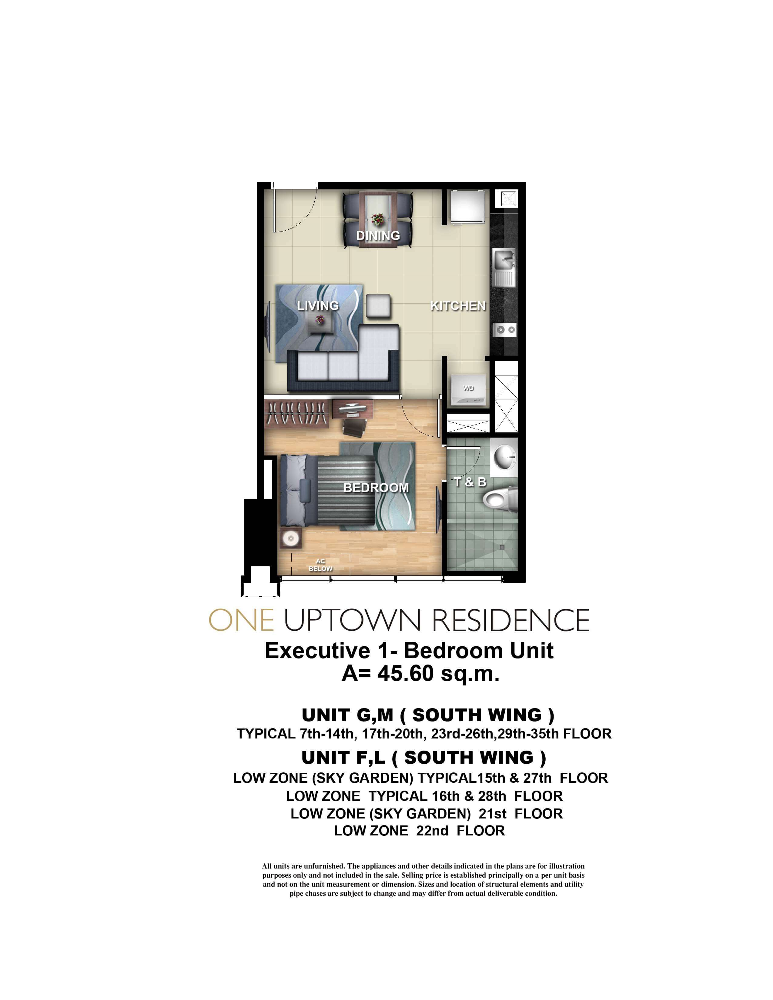 One Uptown Residence Unit Layout 1BR (45.6 sqm)
