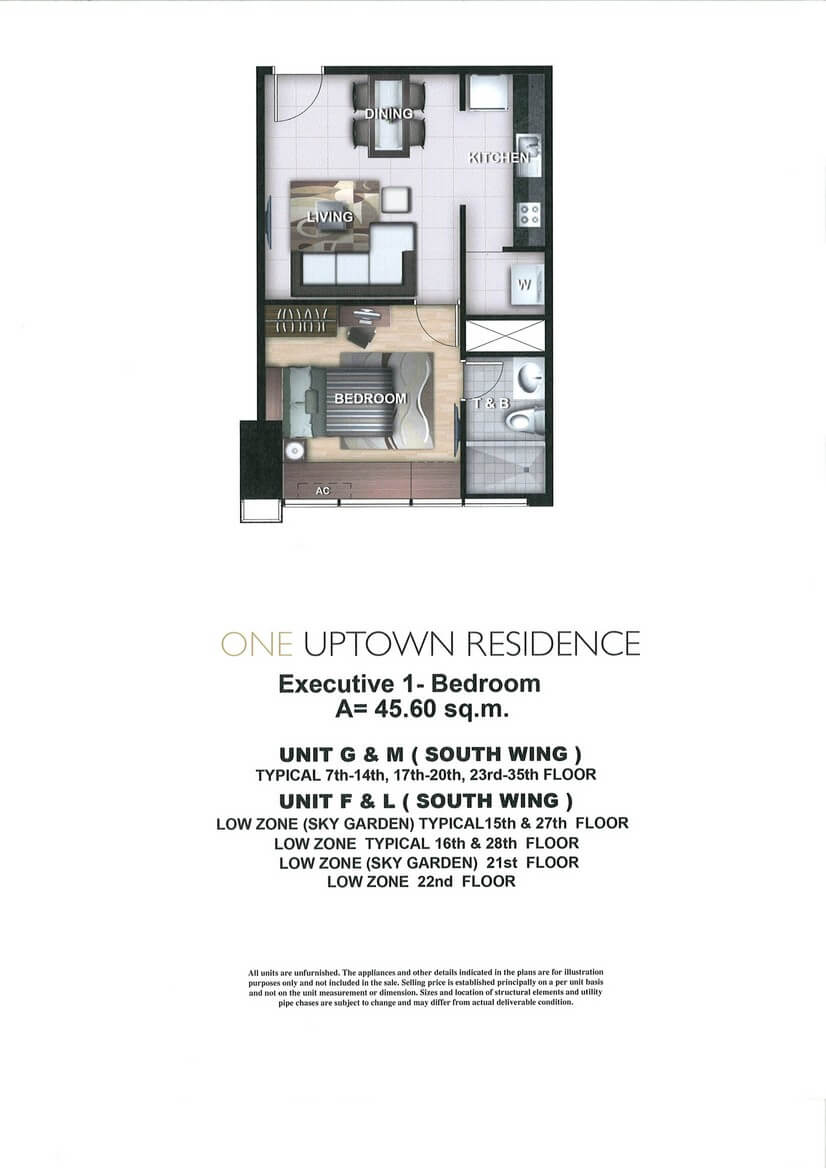 One Uptown Residence Unit Layout 1BR (45.6sqm)