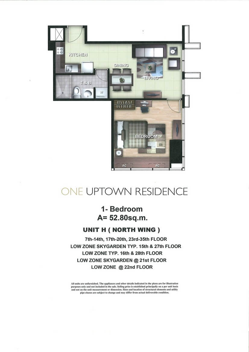 One Uptown Residence Unit Layout 1BR (52.8sqm)