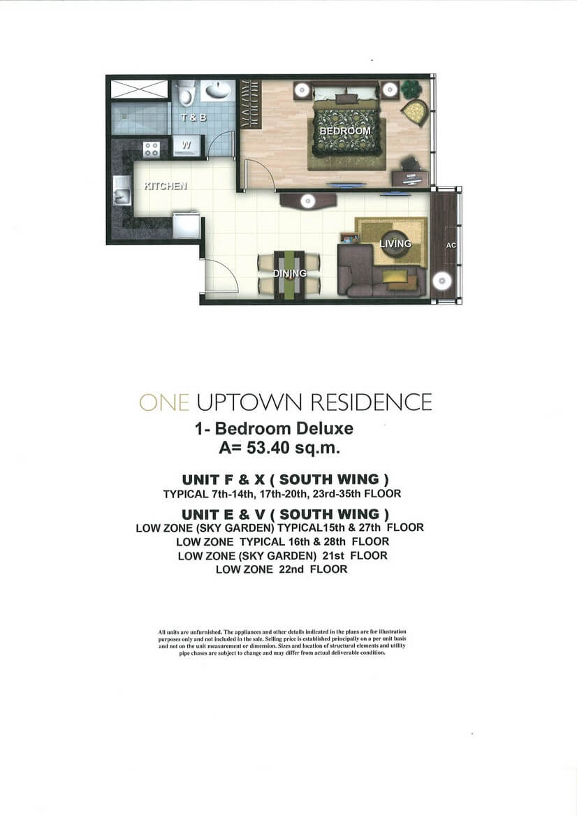 One Uptown Residence Unit Layout 1BR (53.4sqm)