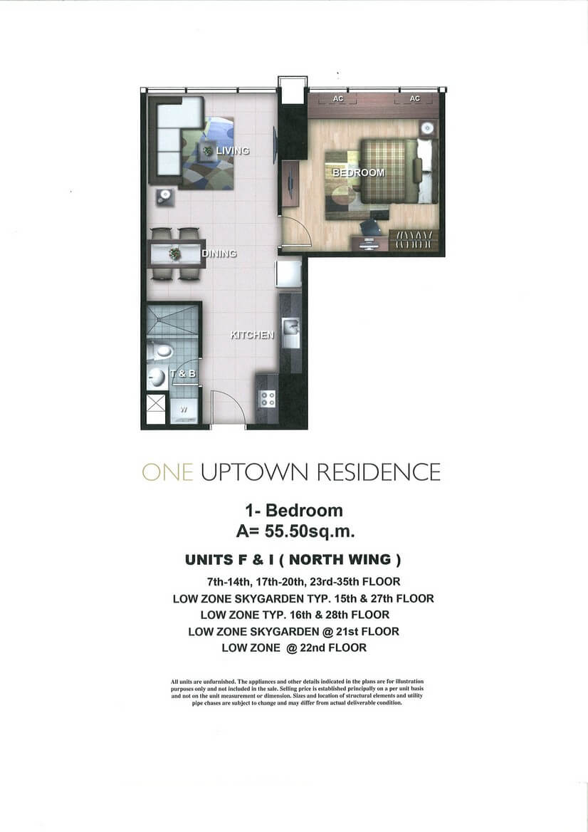 One Uptown Residence Unit Layout 1BR (55.5sqm)