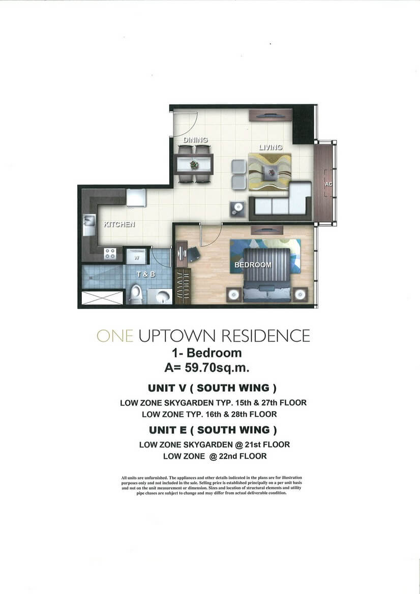 One Uptown Residence Unit Layout 1BR (59.7sqm)