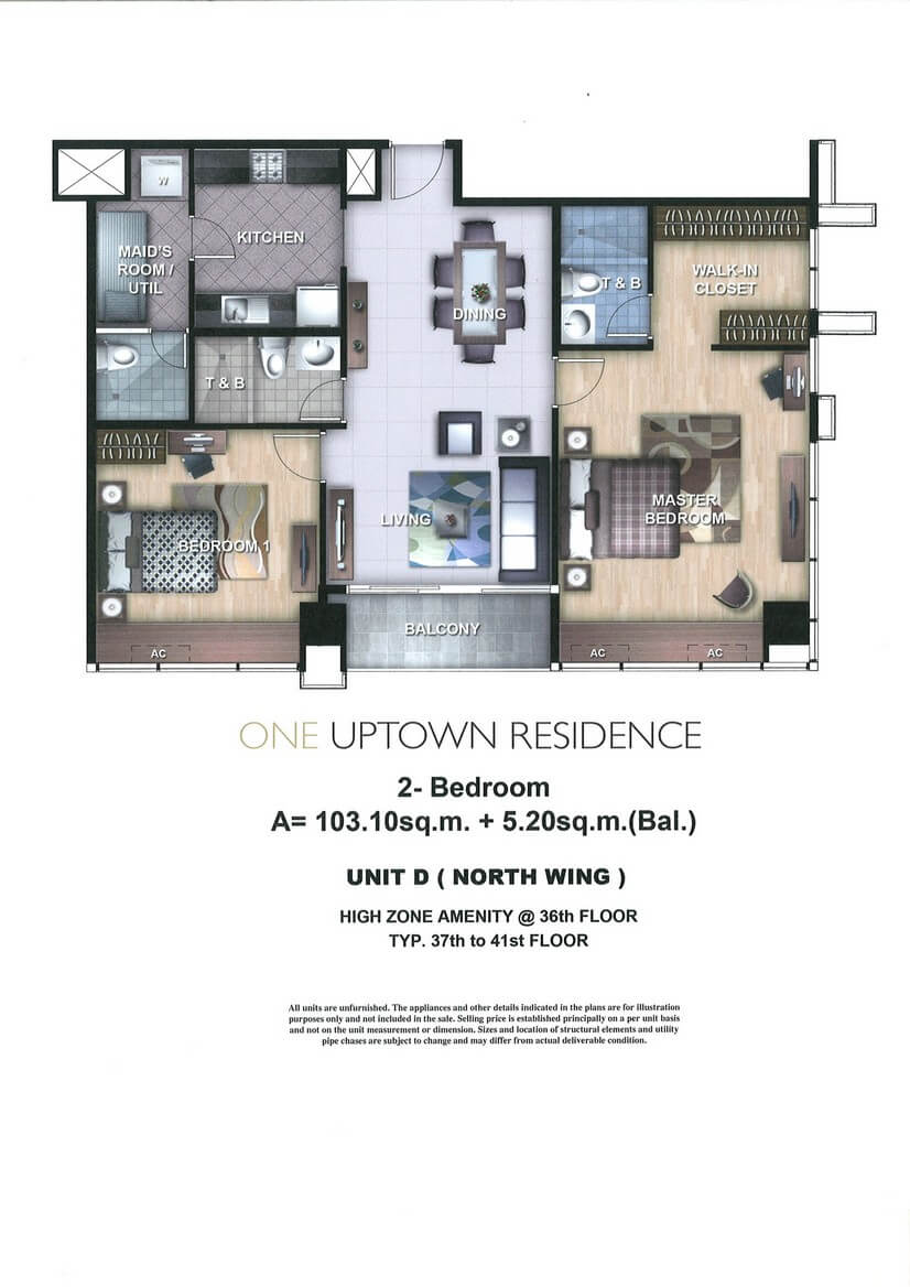 One Uptown Residence Unit Layout 2BR (108.3sqm)