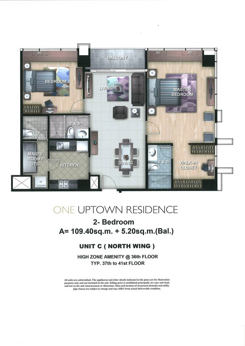 One Uptown Residence Unit Layout 2BR (114.8sqm)