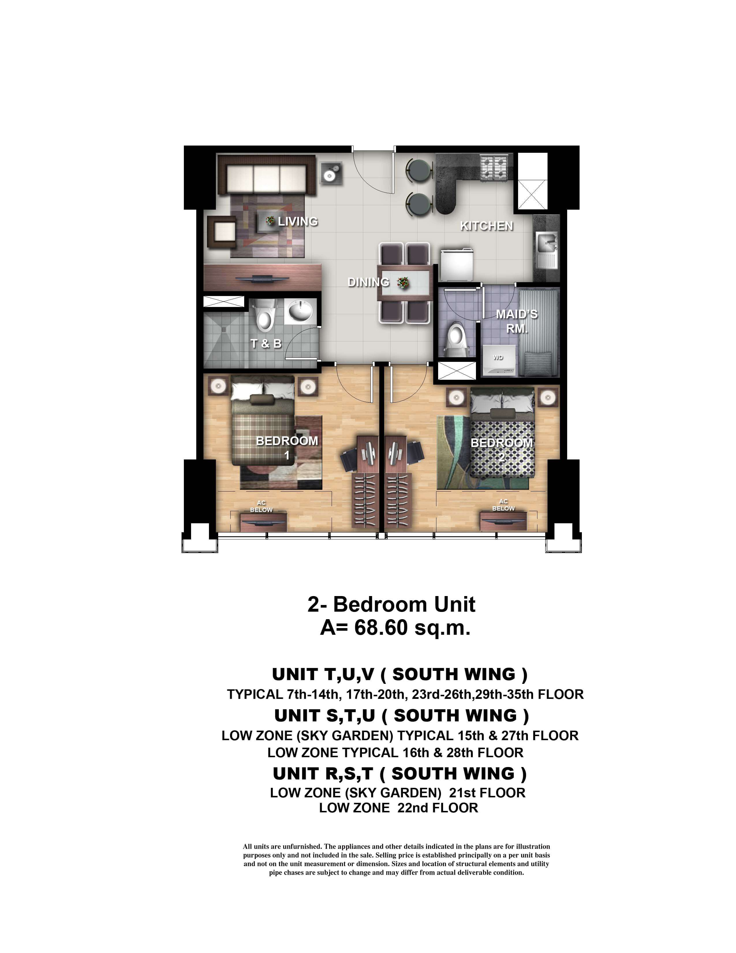 One Uptown Residence Unit Layout 2BR (68.6sqm)