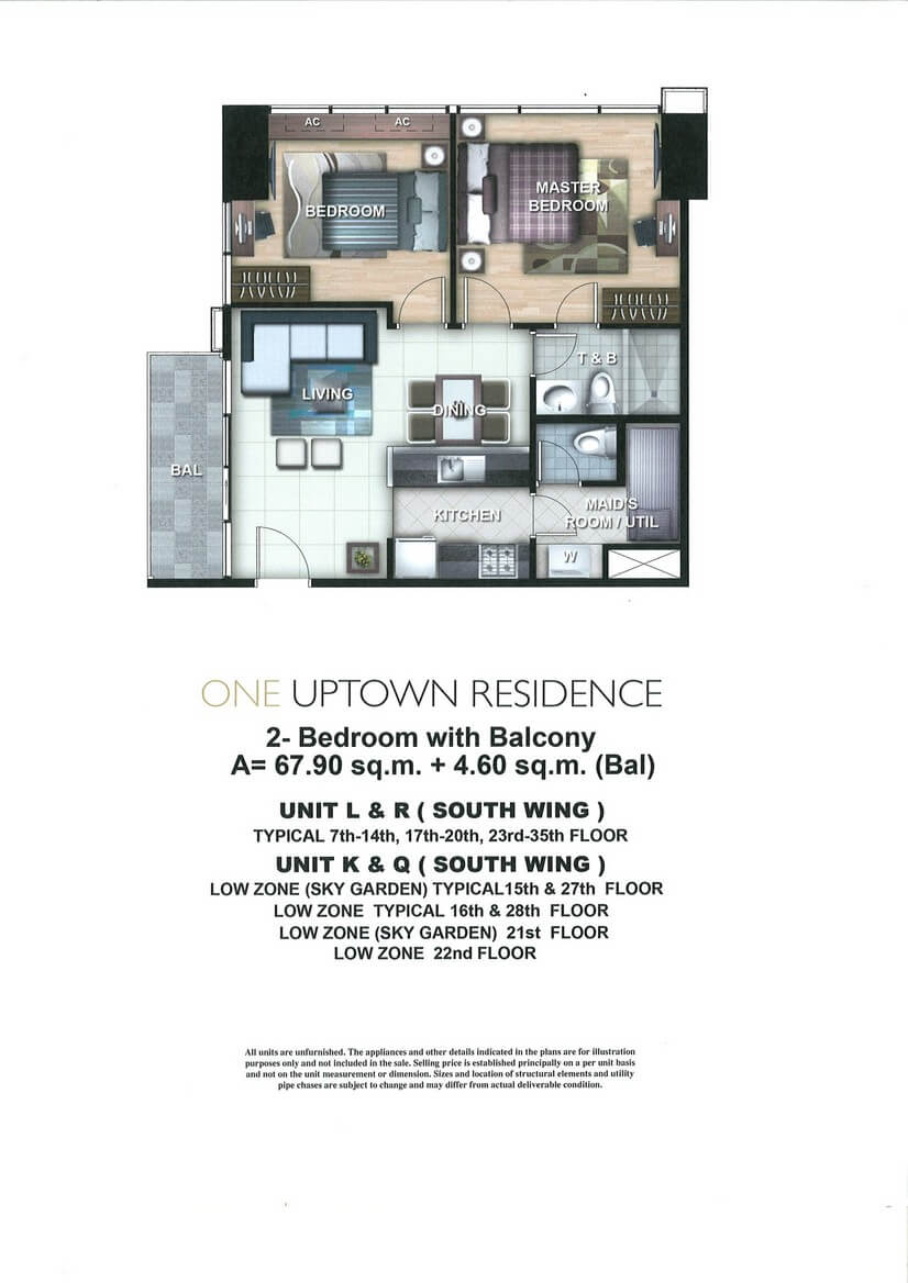 One Uptown Residence Unit Layout 2BR (72.5sqm)