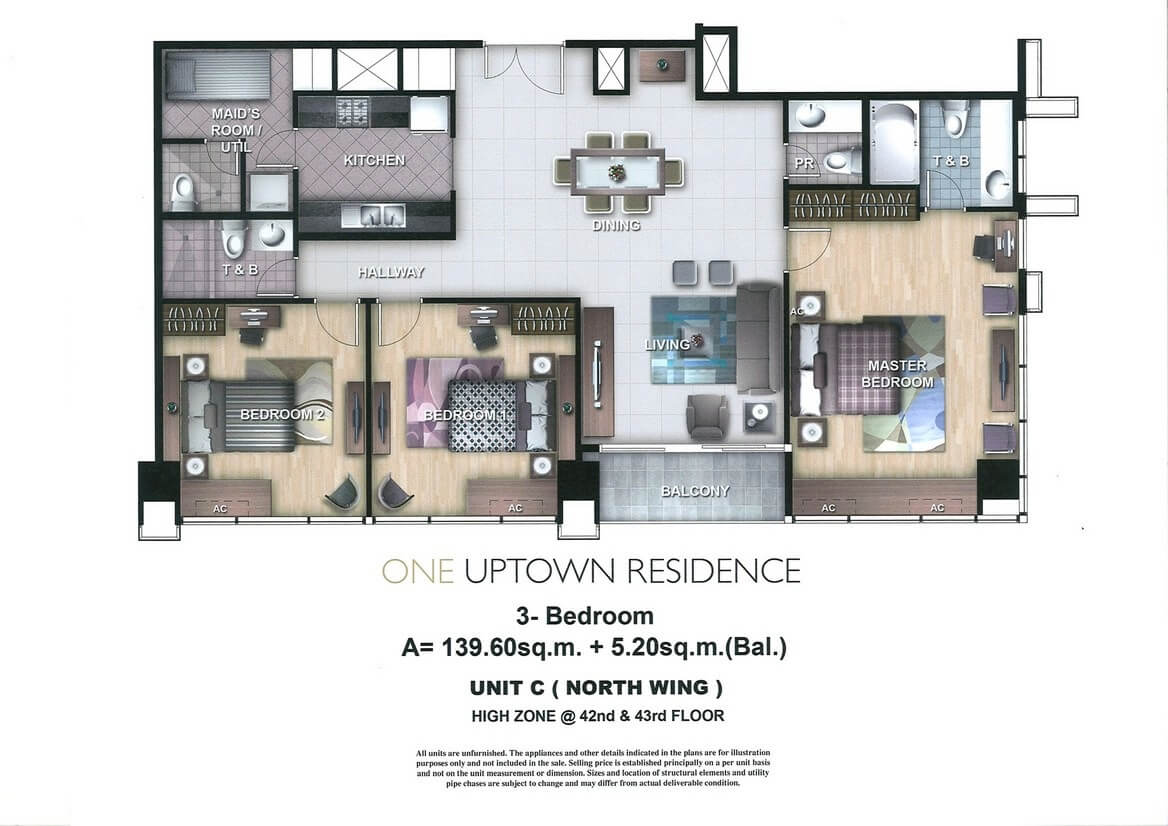 One Uptown Residence Unit Layout 3BR (145.8sqm)