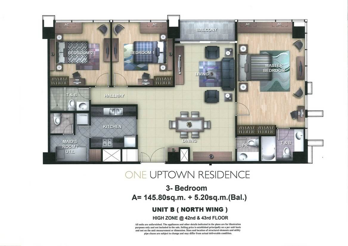 One Uptown Residence Unit Layout 3BR (151sqm)