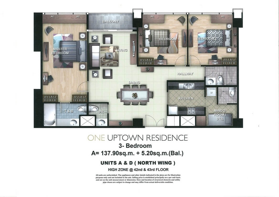 One Uptown Residence Unit Layout 3BR(143.1sqm)