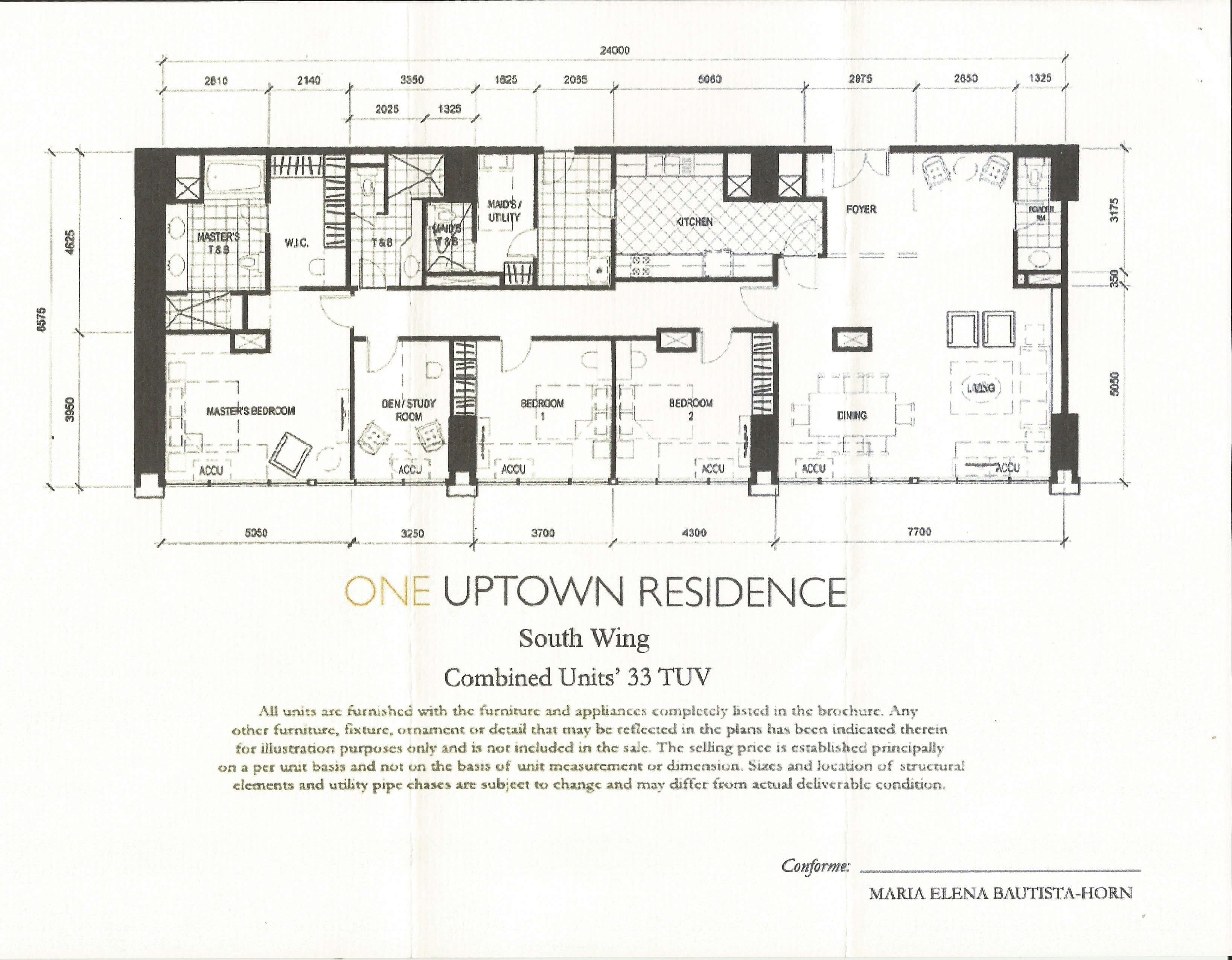 One Uptown Residence Unit Layout Combined