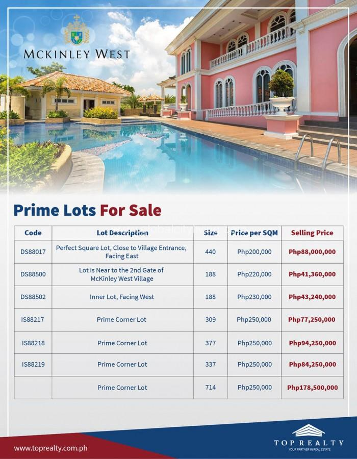 McKinley West Lot Availability For Sale