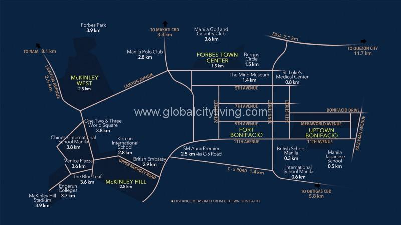 Mckinley West Village Location Map Lot For Sale in Fort Bonifacio Taguig