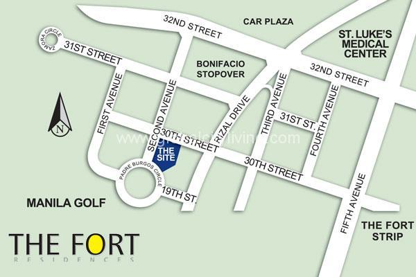 the fort residences bgc condo for sale location map