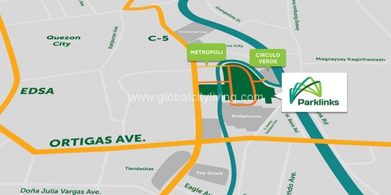 parklinks location map preselling condo for sale in pasig city and quezon city