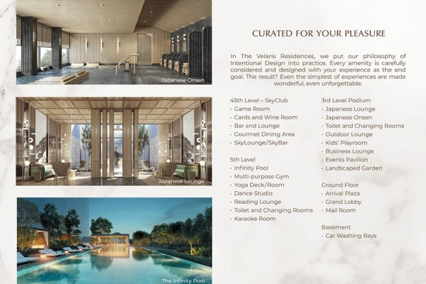 The Velaris Residences Amenities Preselling condo for sale pasig and quezon city
