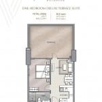 Velaris residences floor plans preselling condo for sale in pasig city ONE-BEDROOM DELUXE TERRACE SUITE UNIT PLAN