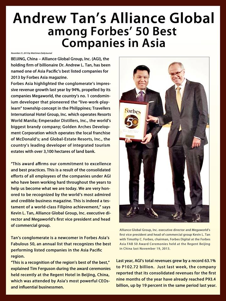 Alliance Global Incorporated: Among Forbes' 50 Top Companies in Asia