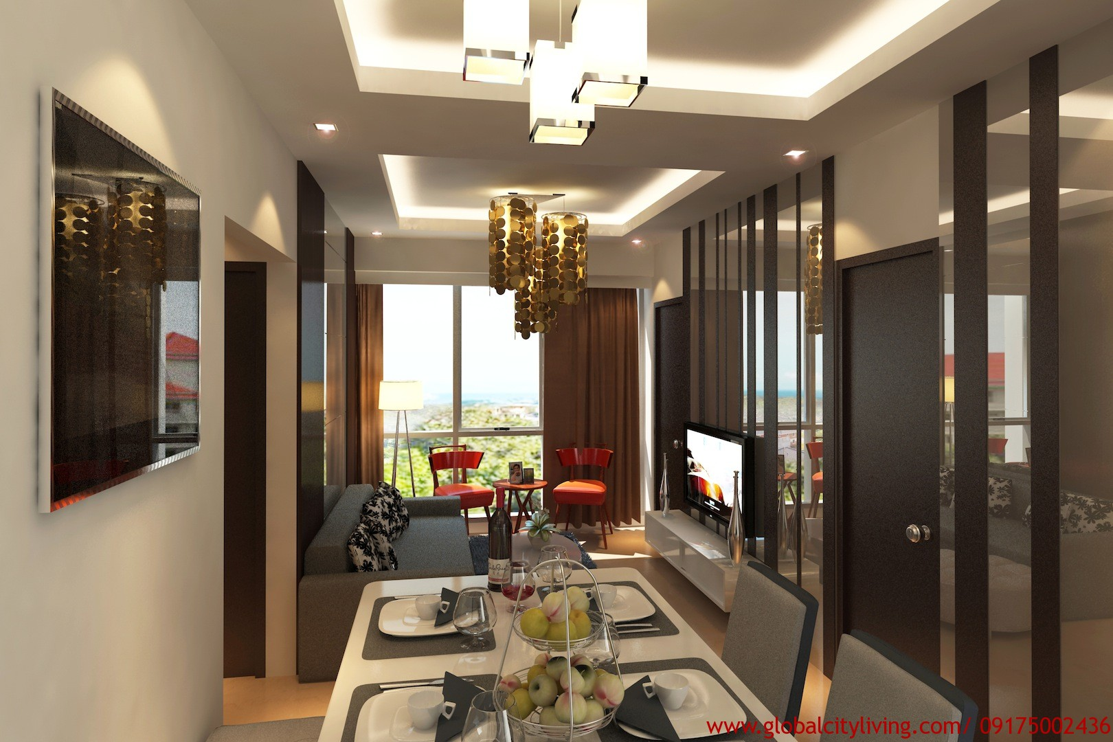 One Manchester Place 2BD living and dining
